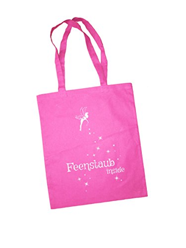 Jutebeutel bedruckt mit Spruch / Jute Beutel mit Design Feenstaub Inside / Stoffbeutel schwarz grün gelb oder plum / Einkaufbeutel / Henkeltasche mit langen Henkeln und Statement von 3 Elfen - pink pink XJhuHYjZb