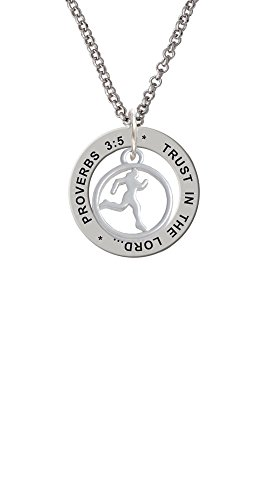 (Runner Silhouette in 1/2'' Disc - Proverbs 3:5 Affirmation Ring Necklace)