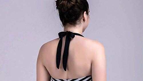 Traje de baño caliente del bikiní conservador de las altas de la elasticidad de las rayas siamés Negro