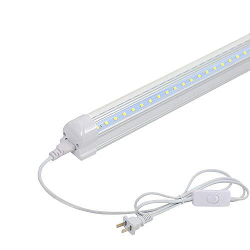 1FT LED Shop Light - 7W 850lm 6000K (Super Bright White), Integrated Fixture, V Shape,T8 Light Tube, Clear Cover, Hight Output, Strip Lights Bulb for Garage Warehouse Workshop Basement (1 Pack)