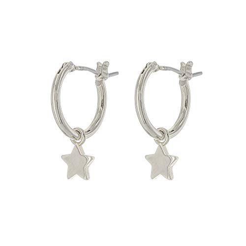 Columbus Rhodium Dipped Charm Hoop Earrings - Dangle Earrings - Shiny Star Drop Earrings - Small Hoops (Shiny Silver Stars)