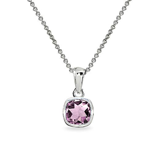 Sterling Silver Simulated Alexandrite 7mm Cushion-Cut Bezel-Set Pendant Necklace