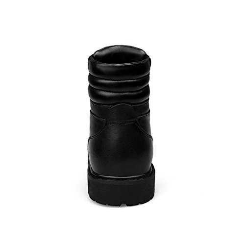 Hombres Nieve Botas Alto Invierno Real Cuero Casual Zapatos Antideslizante Calentar Con cordones Negro Terciopelo Otoño Al aire libre Grande tamaño 37-46 Black