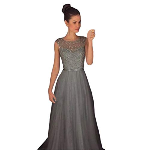 "Sinfu Clearance! Women Lace Sling Perspective Formal Wedding Bridesmaid Long Evening Party Ball Prom Gown Dress (S:Bust: 84cm/33.1"", Gray) from Sinfu"