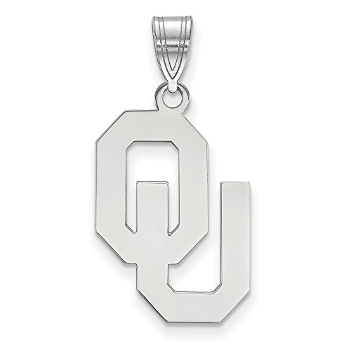 Jewelry Stores Network University of Oklahoma Sooners OU School Letters Logo Pendant in Sterling Silver L - (22 mm x 15 ()