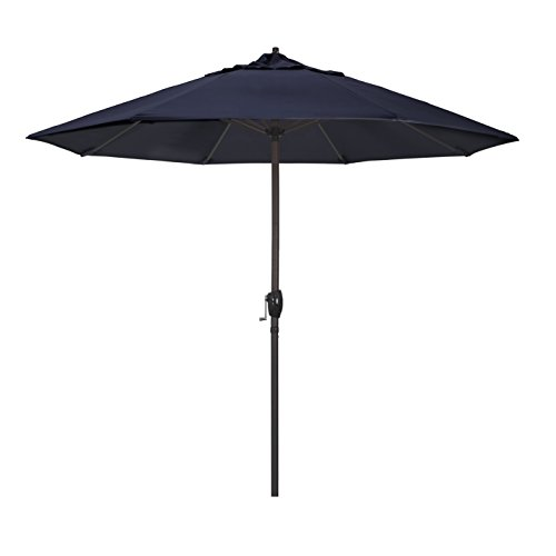 California Umbrella 9′ Round Aluminum Market Umbrella, Crank Lift, Auto Tilt, Bronze Pole, Sunbrella Navy Fabric