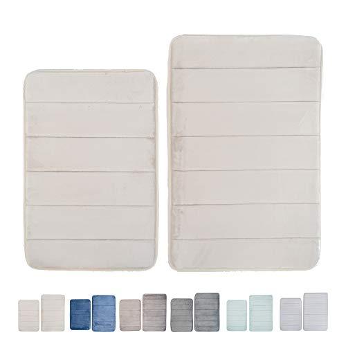 "Home Beyond 2-Piece Set Strip Memory Foam Bath Mat Rug Absorbent Bathroom Non-Slip Back Machine Washable, 28"" X 18"", 24"" X 16"", Beige"