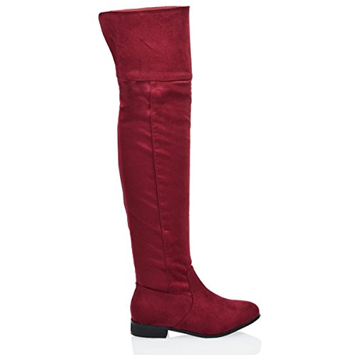 LADIES Suede HIGH Burgundy OUT WOMENS BOOTS LOW HEEL THE RIDING OVER CUT Faux ZIP THIGH SIZE KNEE HIGH TwRpU0