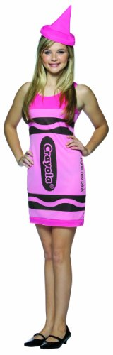 Rasta Imposta Crayola Tank Dress Teen Costume, Tickle Me Pink, Teen size 13-16