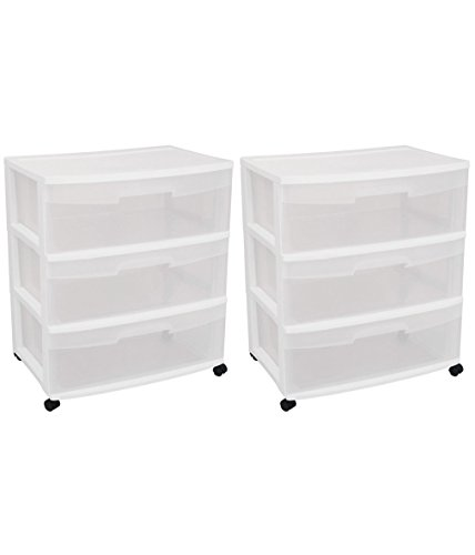 Sterilite 29308001 Wide 3 Drawer Cart, White Frame with Clear Drawers and Black Casters, - Cart Storage Sterilite Drawer