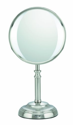 Conair Oval Shaped Variable LED Lightening Double-Sided Lighted Makeup Mirror; 1x/10x magnification; Satin Nickel Finish