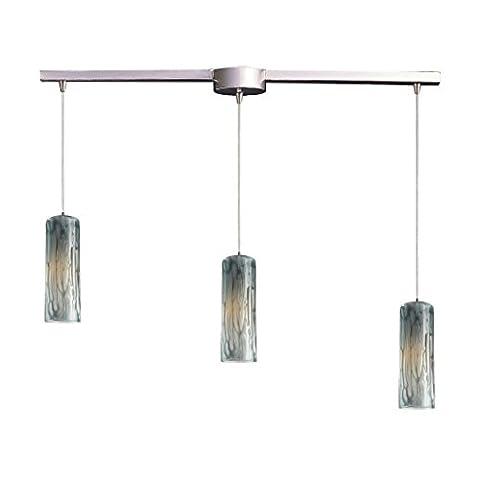 Alumbrada Collection Maple 3 Light Pendant In Satin Nickel And Maple Dusk Glass - Maple Three Pendant Light
