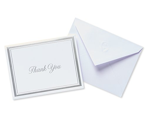 American Greetings Silver Thank-You Cards and White Envelopes, 20-Count