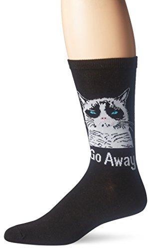 Grumpy Cat Men's Go Away Crew Socks, Black, 10-13/6-12