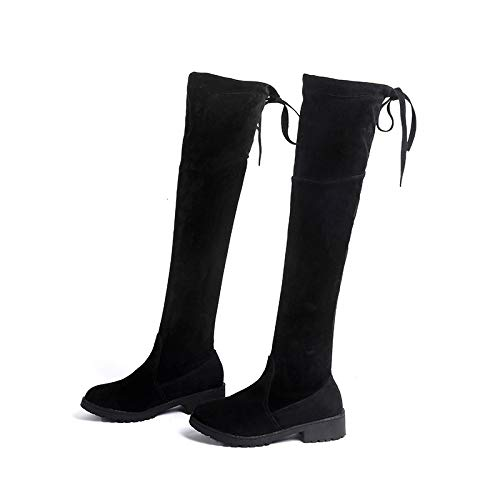 Winter Thick 37 Knee Boots Stivale Feet Over Shoes Hoesczs Women's Thick Padded Martin Autumn black The And Fashion a0ywCqT