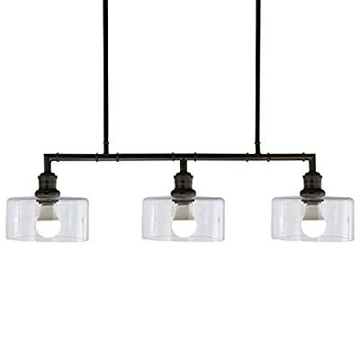 "Stone & Beam Black Industrial Chandelier, 22"" H, Glass Shades"