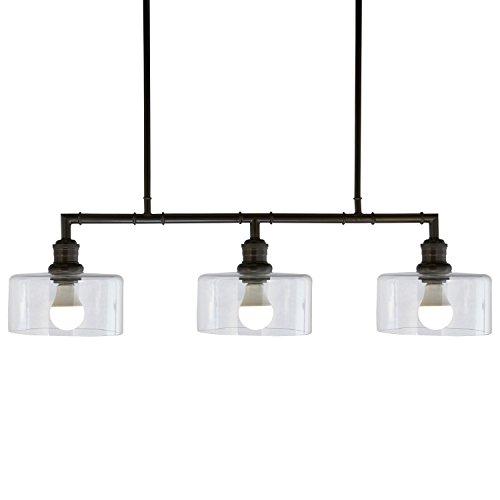stone beam black industrial chandelier 36 h glass shades. Black Bedroom Furniture Sets. Home Design Ideas