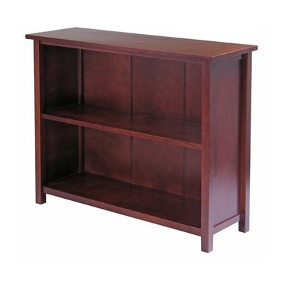 - Winsome Wood Milan Antique Walnut 30-in 2-Shelf Bookcase