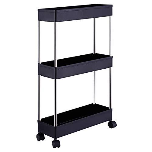 DLO Slim Storage Cart, 3 Tier Mobile Shelving Unit Organizer Slide Out Storage Rolling Utility Cart Tower Rack for…