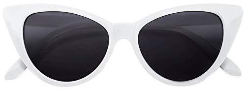 OWL Vintage Cat Eye Sunglasses Smoke Lens White Frame]()