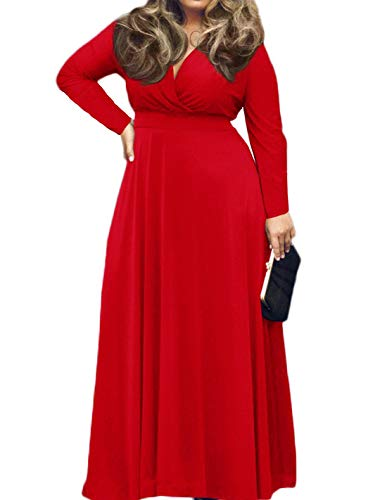 POSESHE Women's Solid V-Neck Long Sleeve Plus Size Evening Party Maxi Dress Red L
