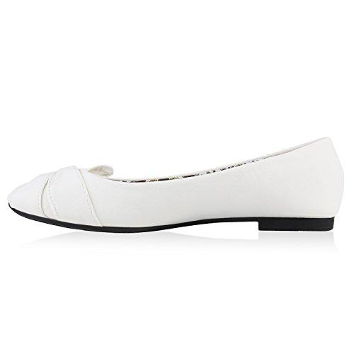 Klassische Damen Ballerinas Leder-Optik Flats Schuhe Übergrößen Flache Slipper Spitze Prints Strass Flandell Weiss Schleife