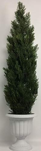 (Outdoor Artificial UV Rated 66 in Cedar Topiary Tree with Md Sandstone Urn)