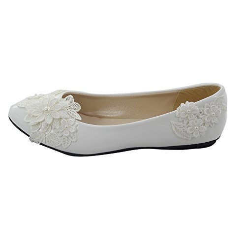 f22eeee19 new MSMAX White PU Leather Lace Wedding Flat Shoes For Women,10M ...