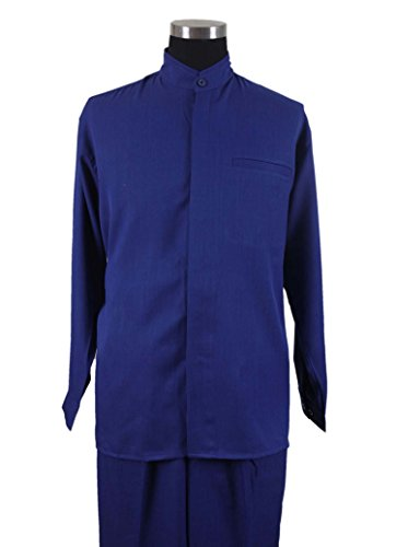 - Milano Moda Banded Collar Long Sleeve Walking Suit M2826-RoyalBlue-2XL-44