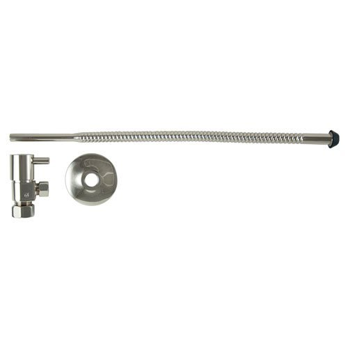 3/8 in. O.D x 15 in. Copper Corrugated Toilet Supply Lines with Lever Handle Shutoff Valves in Polished Nickel by Barclay