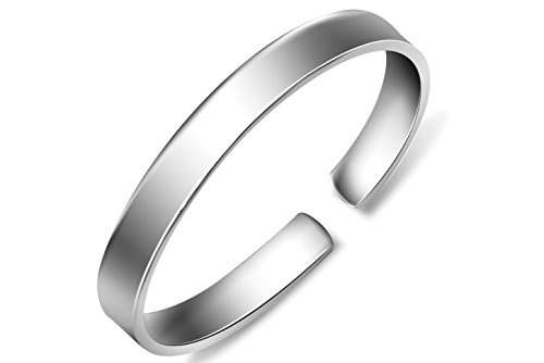 Merdia Women's S999 Sterling Silver Bangle Cuff Bracelet Polished Surface 27g for Gift ()