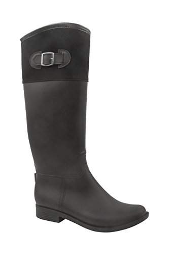 boot Black Rush Full Rain Womens Modern Back calf With High Mid Knee Peyton Zipper 1d8OgnU