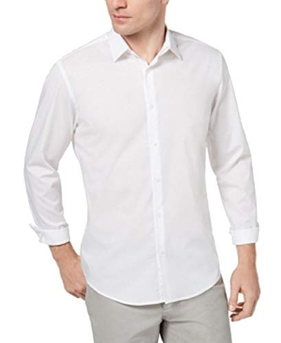 Alfani Men's Modern Solid Shirt (Bright White, XL)