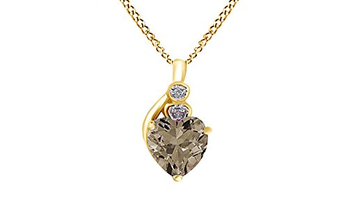 (Jewel Zone US Heart Shaped Simulated Smokey Quartz & Natural Diamond Pendant in 10K Solid Yellow Gold)