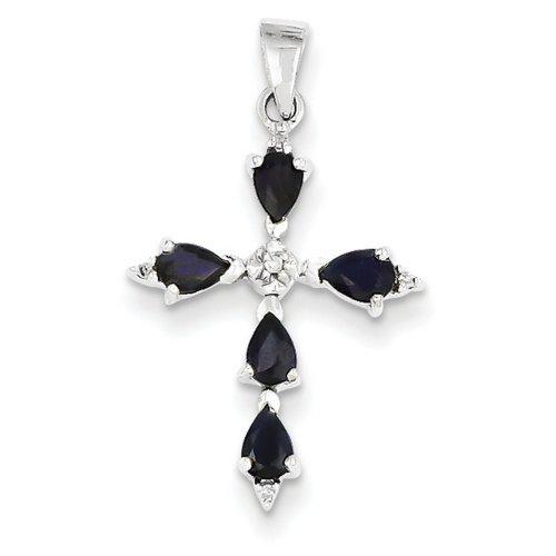 Icecarats Créatrice De Bijoux 14K Diamant Or Blanc Saphir Pendentif Croix