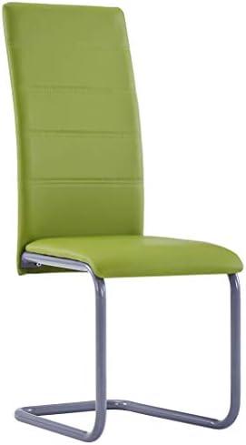 vidaXL 2X Chaises de Salle à Manger Cantilever Chaises de Cuisine Chaises de Repas Chaises de Bureau Maison Intérieur Vert Similicuir
