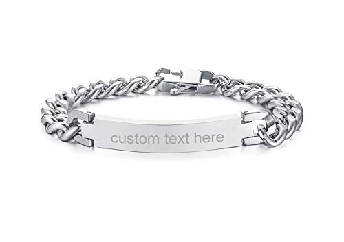 Personalized Engravable Stainless Steel ID Bracelets for Men Women, Name Plate Identity Bracelets,Birthday Gift