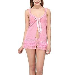 TRAPTI Women's Lingerie Nightwear Honeymoon Net Dress with G String Panty | Sexy Lingerie for Women | Baby Doll Dress…