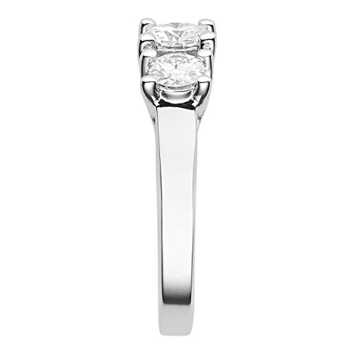 Forever Brilliant 5.0mm Moissanite Three Stone Engagement Ring, 0.96cttw DEW by Charles & Colvard