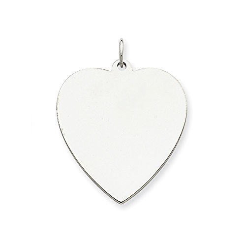 Sterling Silver Heart Disk - Sterling Silver Engravable Heart Disc Charm (27 x 25mm)