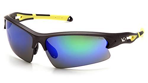 (Venture Gear Monteagle Safety Sunglasses, Gun Metal/Hi-Vis Yellow Frame, Ice Blue Mirror Anti-Fog Lens)