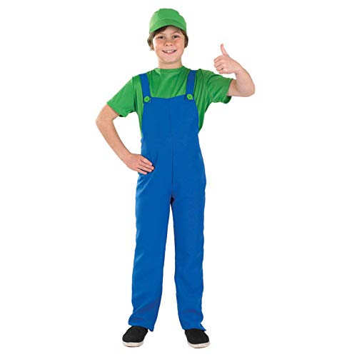 Kids Luigi Costume Childrens Super Mario Bros Gaming Character Outfit - Small Green -