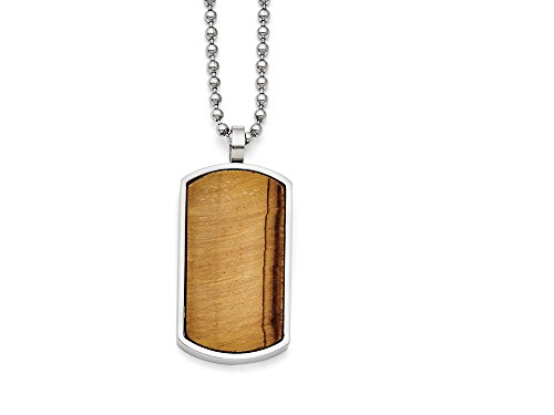 Eye Dog Tag - Chisel Stainless Steel Tiger's Eye Dog Tag Pendant Necklace