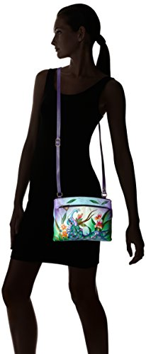 Mpk midnight Crossbody Peacock Anuschka Handpainted Anna Organizer Midnight Peacock by xwA4qw8
