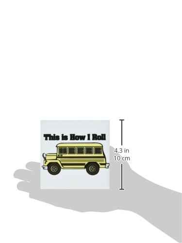 Set of 4 3dRose CST/_102559/_3 This is How I Roll Short Yellow School Bus-Ceramic Tile Coasters