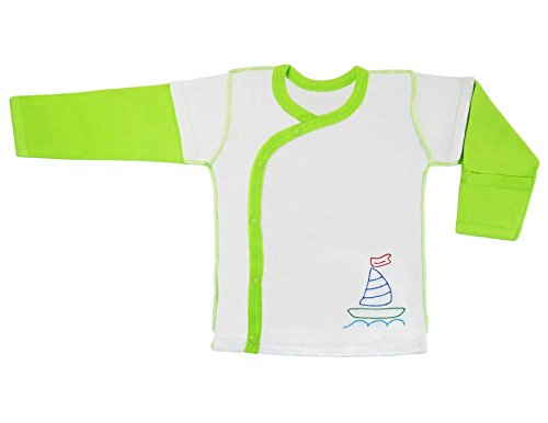 (Bambuzik Organic Bamboo Super Comfortable Long Sleeve Embroidered Baby Side-Snap Shirt with Outside Seams and Mitten Cuffs )
