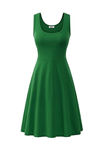 Skinny Neck Crew Cotton Coolred Sleeveless Dress Vogue Midi Women Green 17HIq5ax