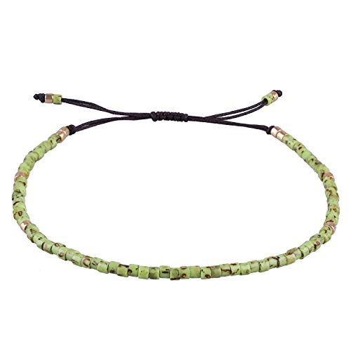 KELITCH Seed Bead Friendship Strand Bracelet Handmade Beaded String Bracelet Fashion Charm Jewelry(Light Green)
