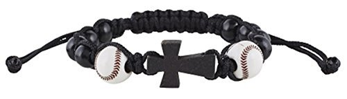 My Sports Baseball Athlete Rosary Bracelet with Wood Cross Pendant, 7 1/2 Inch