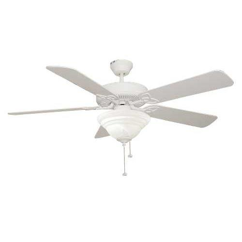 Ellington Fans Bld52mww5c1 Builder Deluxe   52  Ceiling Fan  Matte White Finish With Alabaster Glass